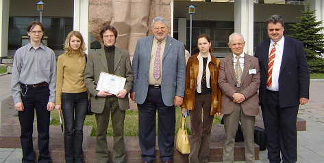 Shown in the picture from left to right are Dmitry Esjunin, treasurer of chapter, Tatyana Lukina, PhD student and vice chair of chapter, Andrey Teplyakov, PhD student and chair of chapter, Giovanni Paccaloni, 2005 SPE President, Ksenia Dudova, secretary of student chapter, Boris Lukhminsky, professor at university and chapter sponsor, Reinhard Pongratz, student chapter liaison officer SPE section Moscow